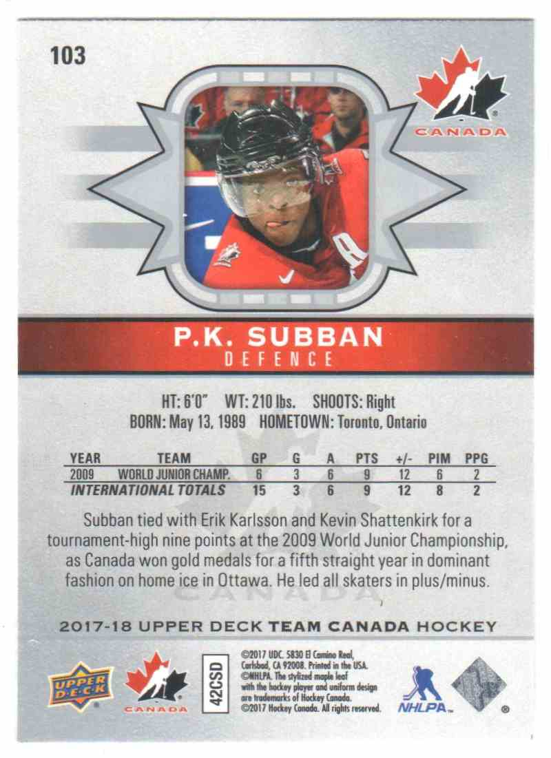 2017-18 Upper Deck Team Canada Canadian Tire P.K. Subban #103 card back image
