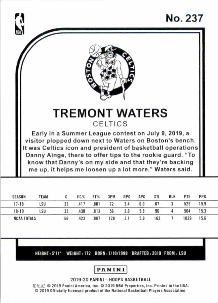 2019-20 Hoops Tremont Waters RC #237 card back image