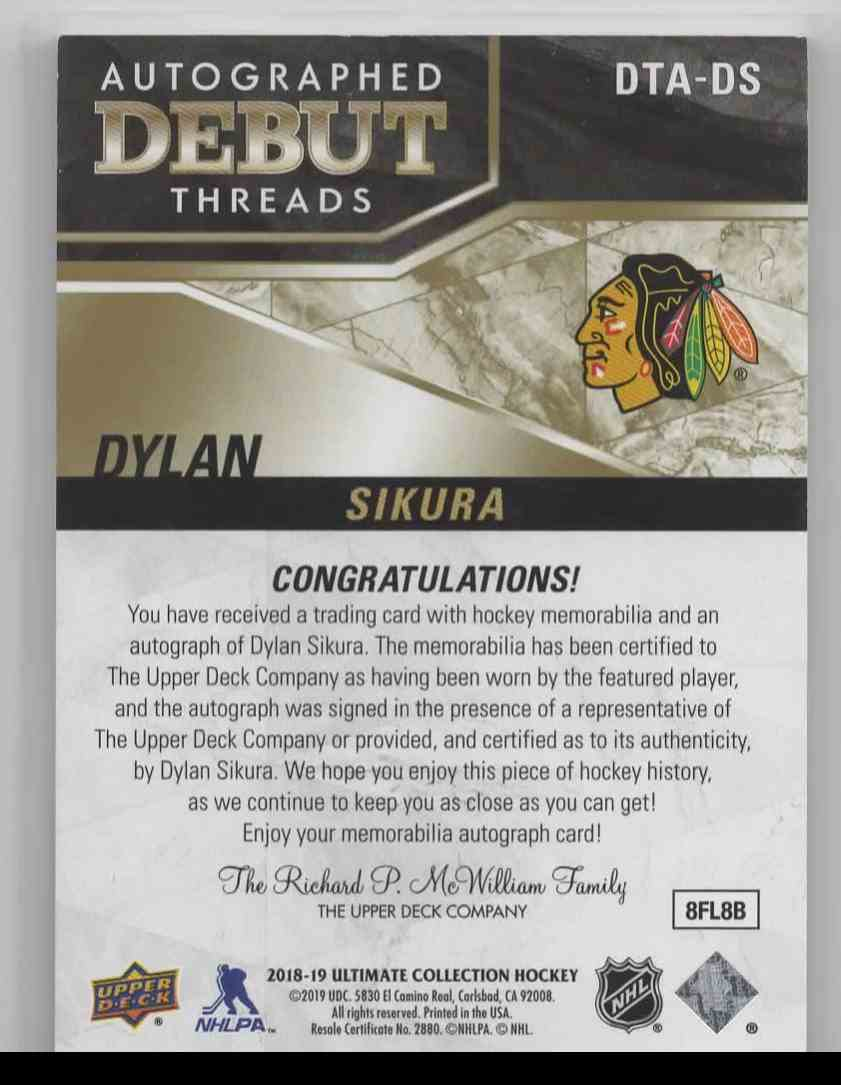 2018-19 Upper Deck Ultimate Collection Dylan Sikura #DTA-DS card back image