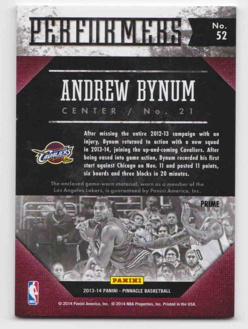 2013-14 Panini Pinnacle Performers Jerseys Prime Andrew Bynum #52 card back image