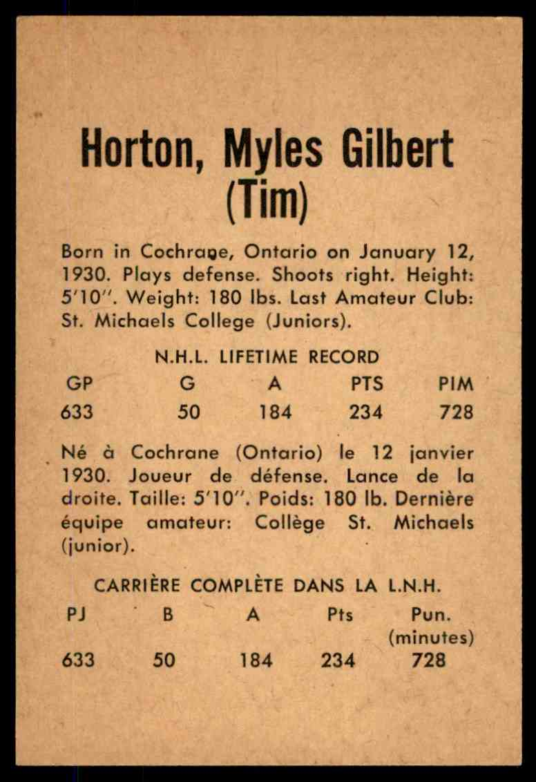 1962-63 Parkhurst Tim Horton  (C) #7 card back image