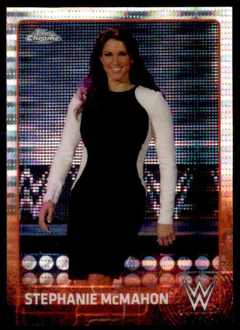 2015 Topps Chrome Wwe Wrestling Stephanie McMahon Pulsar Recfractor #67 card front image