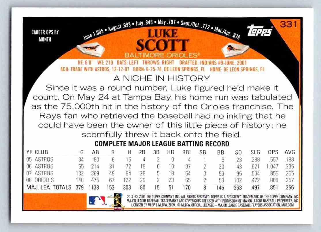 2009 Topps Luke Scott #331 card back image