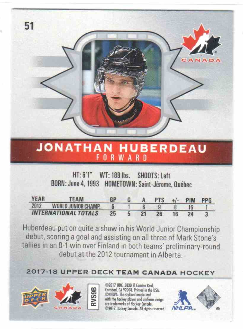 2017-18 Upper Deck Team Canada Canadian Tire Jonathan Huberdeau #51 card back image