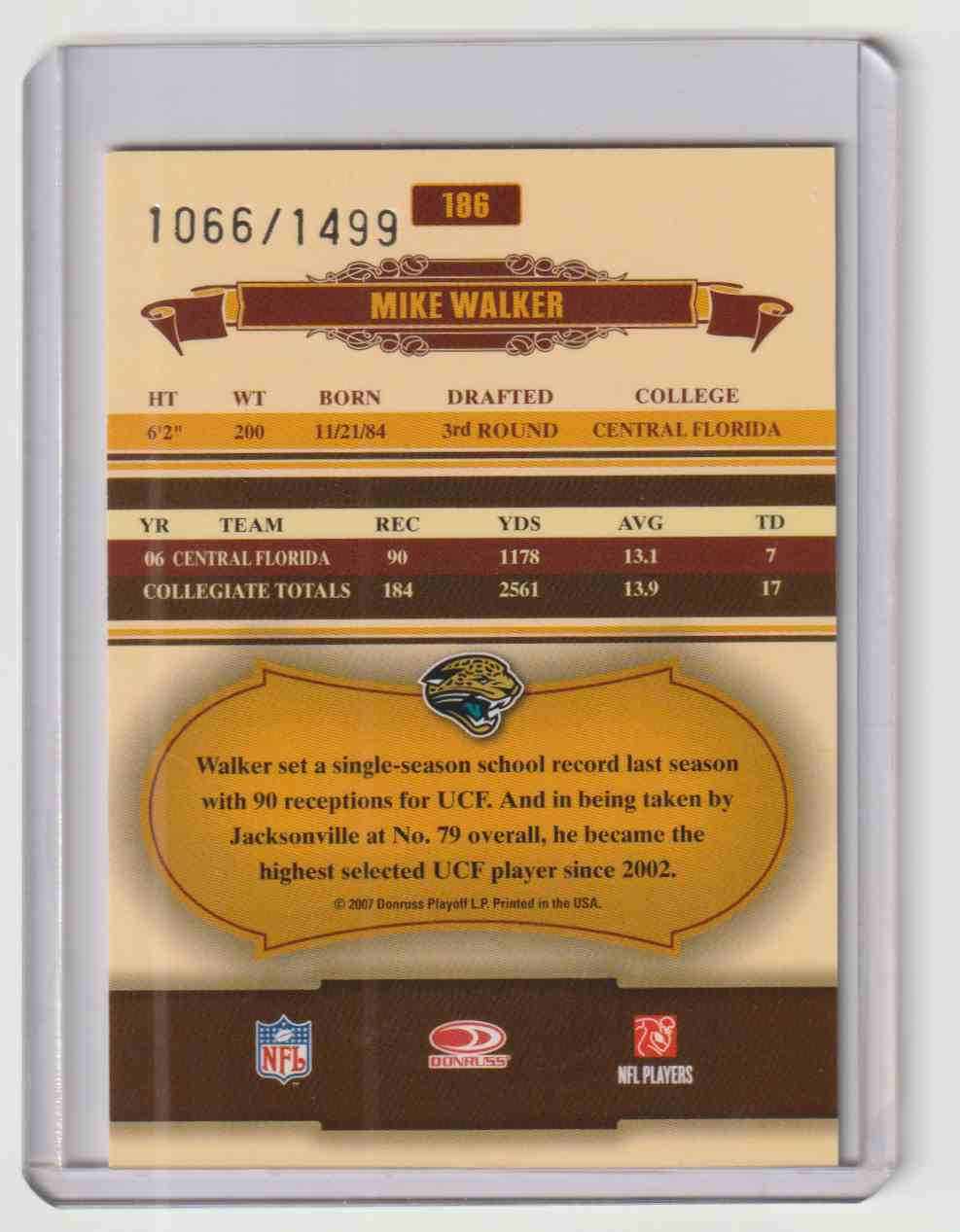 2007 Donruss Classics Mike Walker #186 card back image