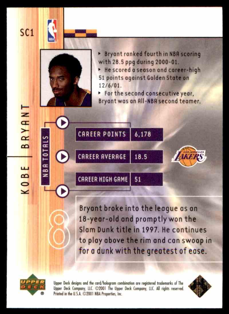 2001-02 Upper Deck Kobe Bryant #1 card front image