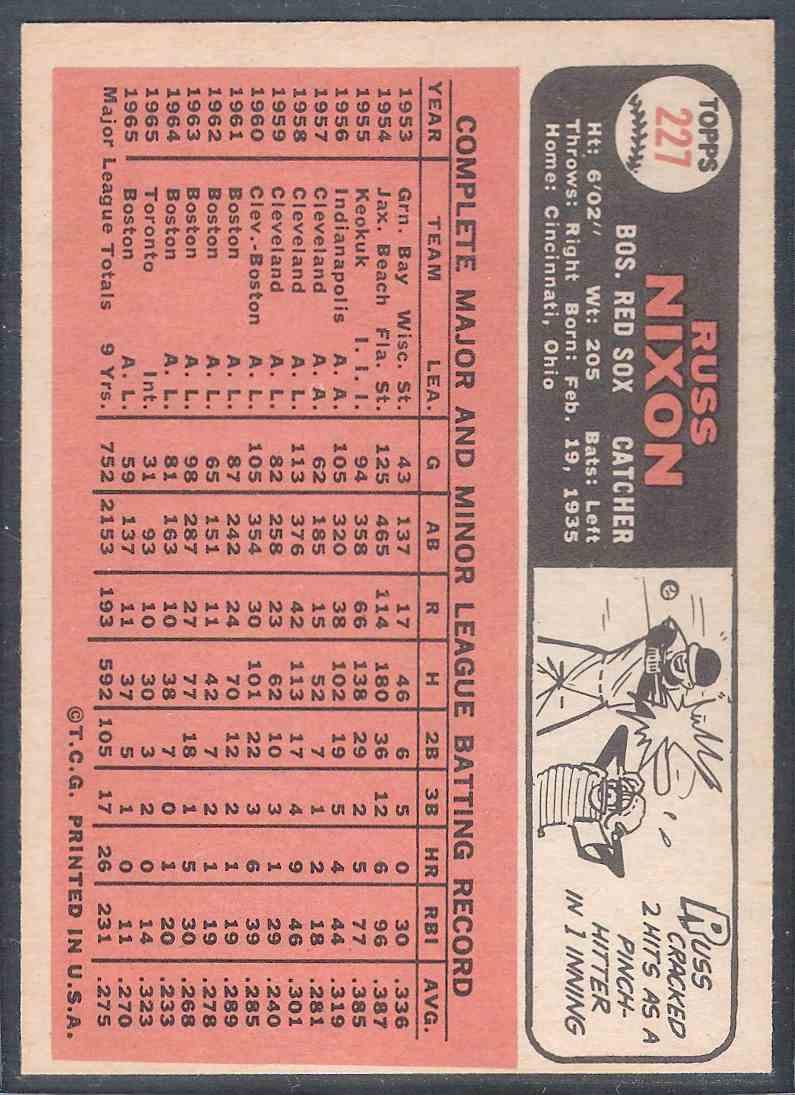 1966 Topps Russ Nixon Nm+ #227 card back image