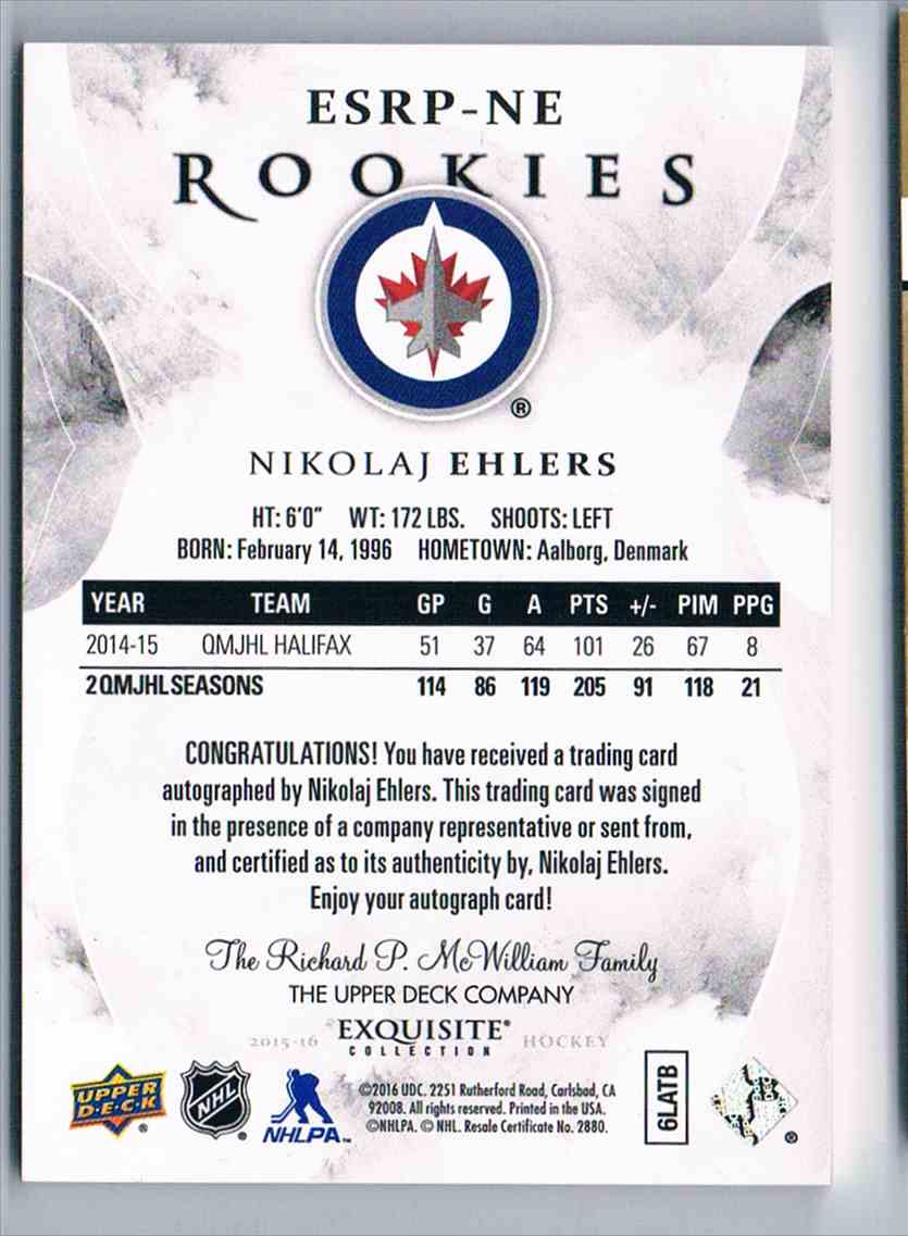 2015-16 Upper Deck Exquisite Collection Rookies Signatures Nikolaj Ehlers #ESRP-NE card back image