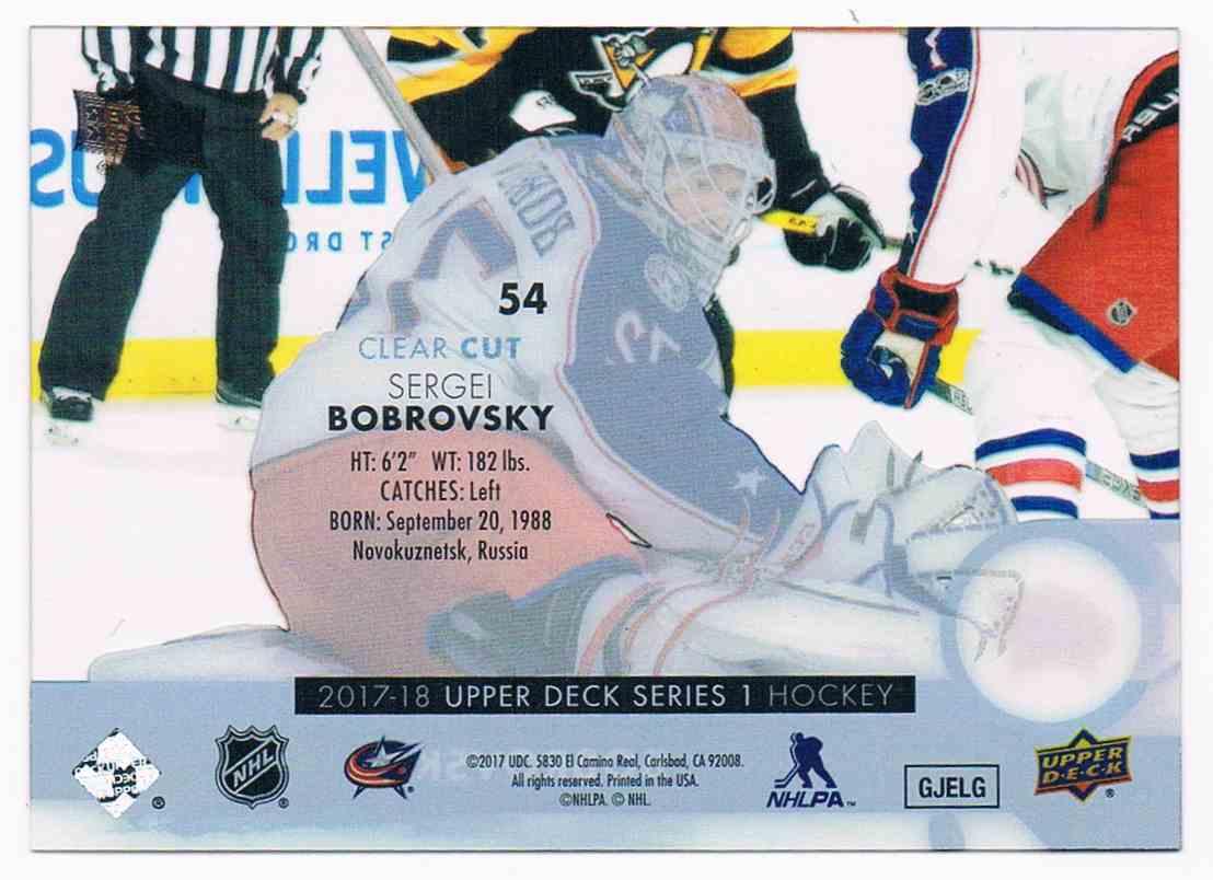 2017-18 Upper Deck Clear Cut Sergei Bobrovsky #54 card back image