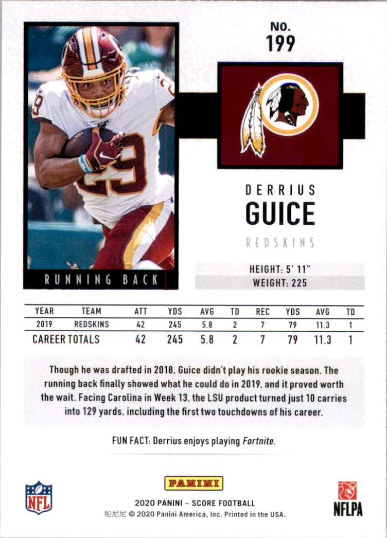 2020 Score Derrius Guice #199 card back image