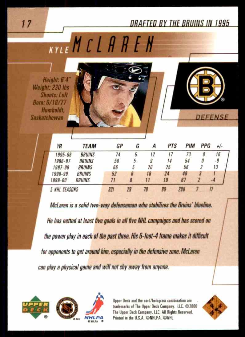 2000-01 Upper Deck Kyle Mclaren #17 card back image