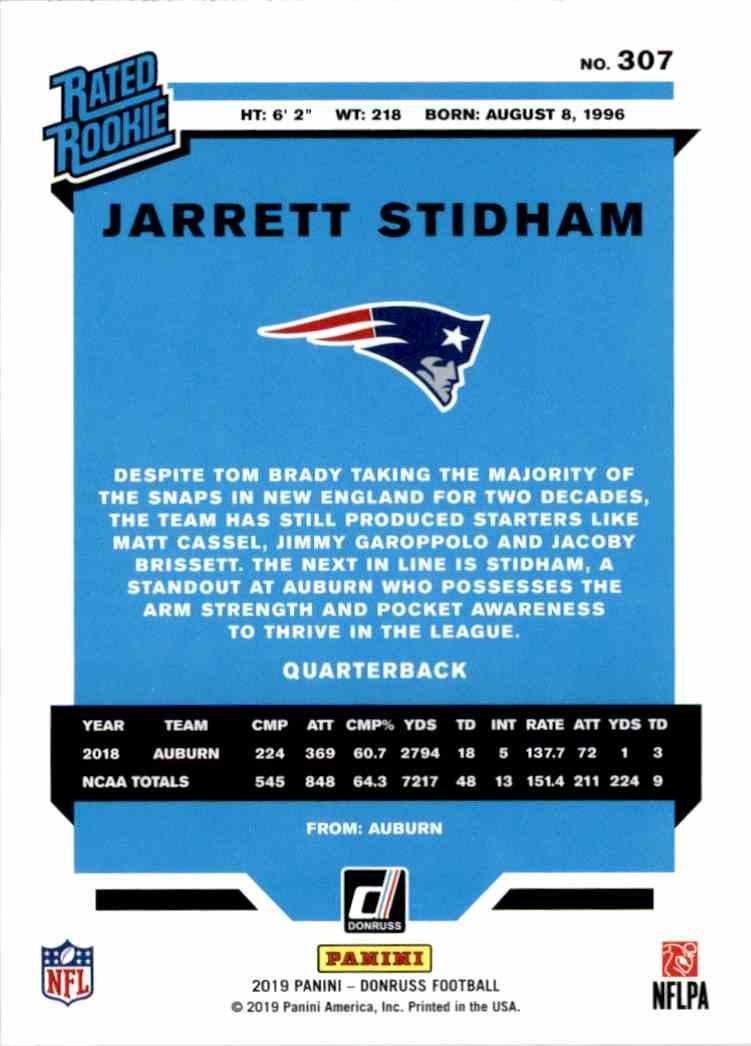 2019 Panini Donruss Rated Rookie Jarrett Stidham #307 card back image