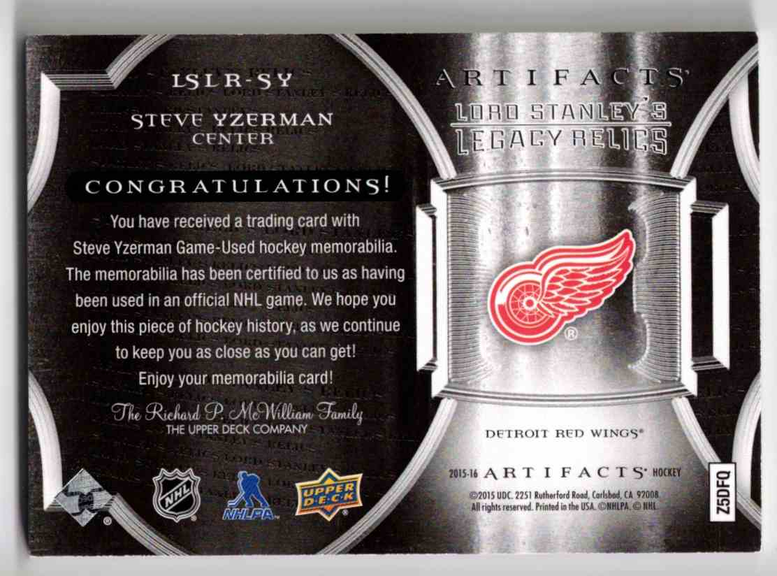 2015-16 Upper Deck Artifacts Lord Stanley's Legacy Relics Gold Steve Yzerman #LSLR-SY card back image