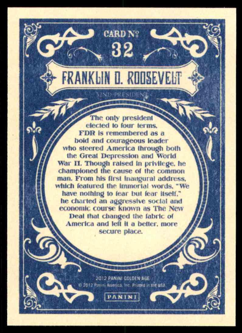 2012 Panini Golden Age Franklin D. Roosevelt #32 card back image