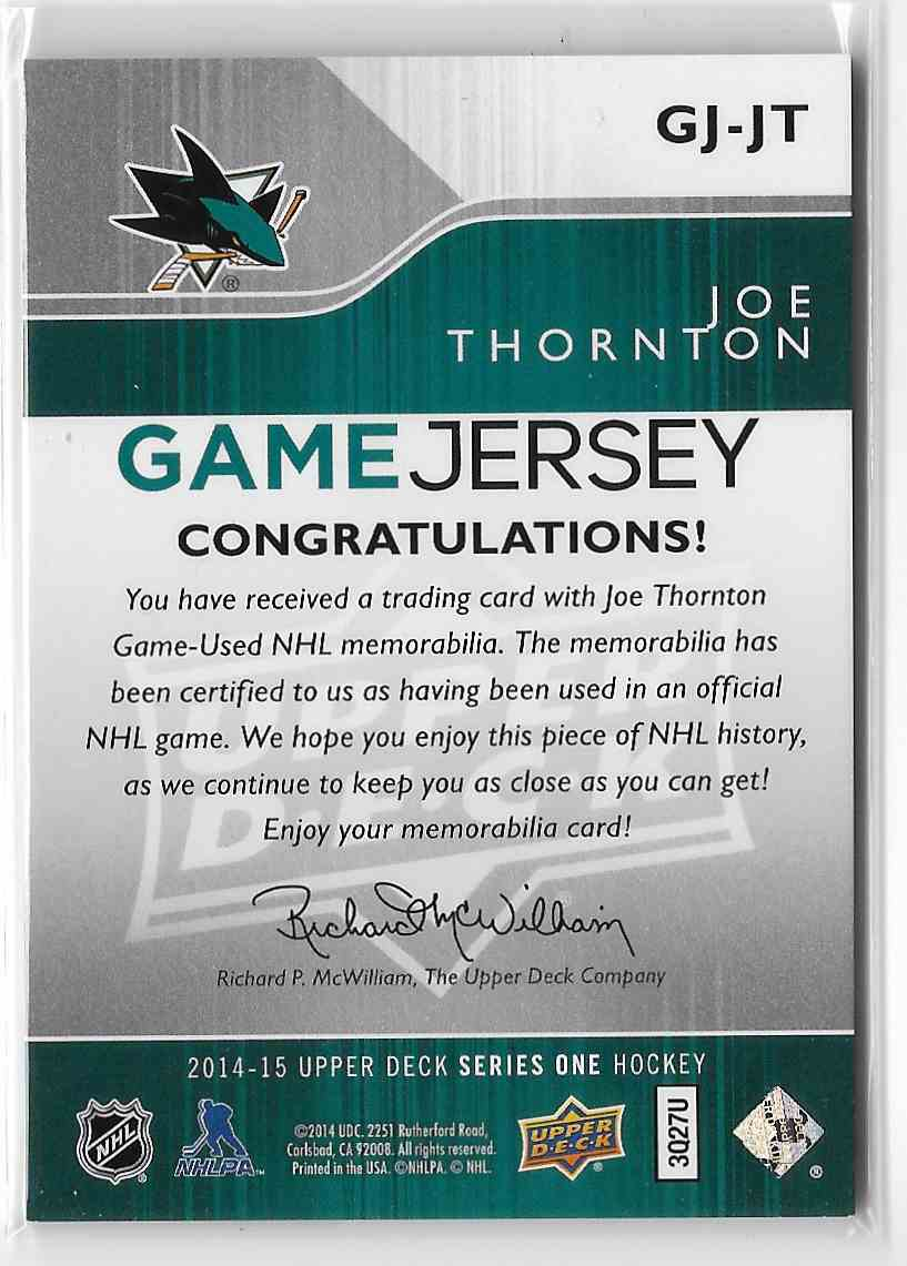 2014-15 Upper Deck Joe Thornton #GJ-JT card back image