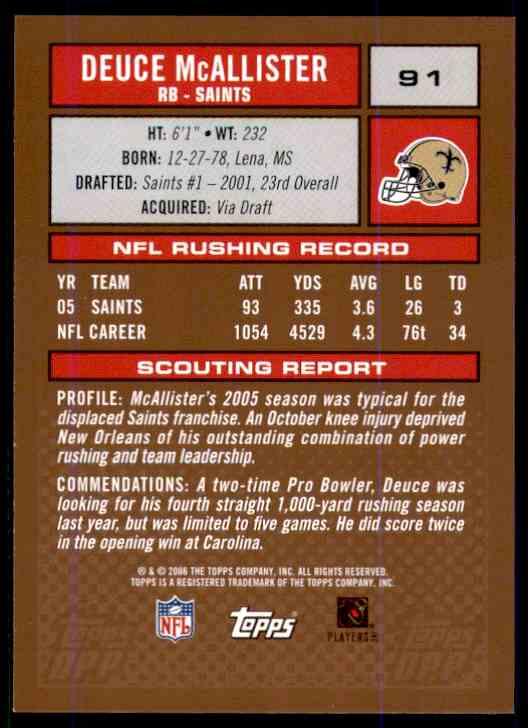 2006 Topps Draft Picks And Prospects Deuce McAllister #91 card back image