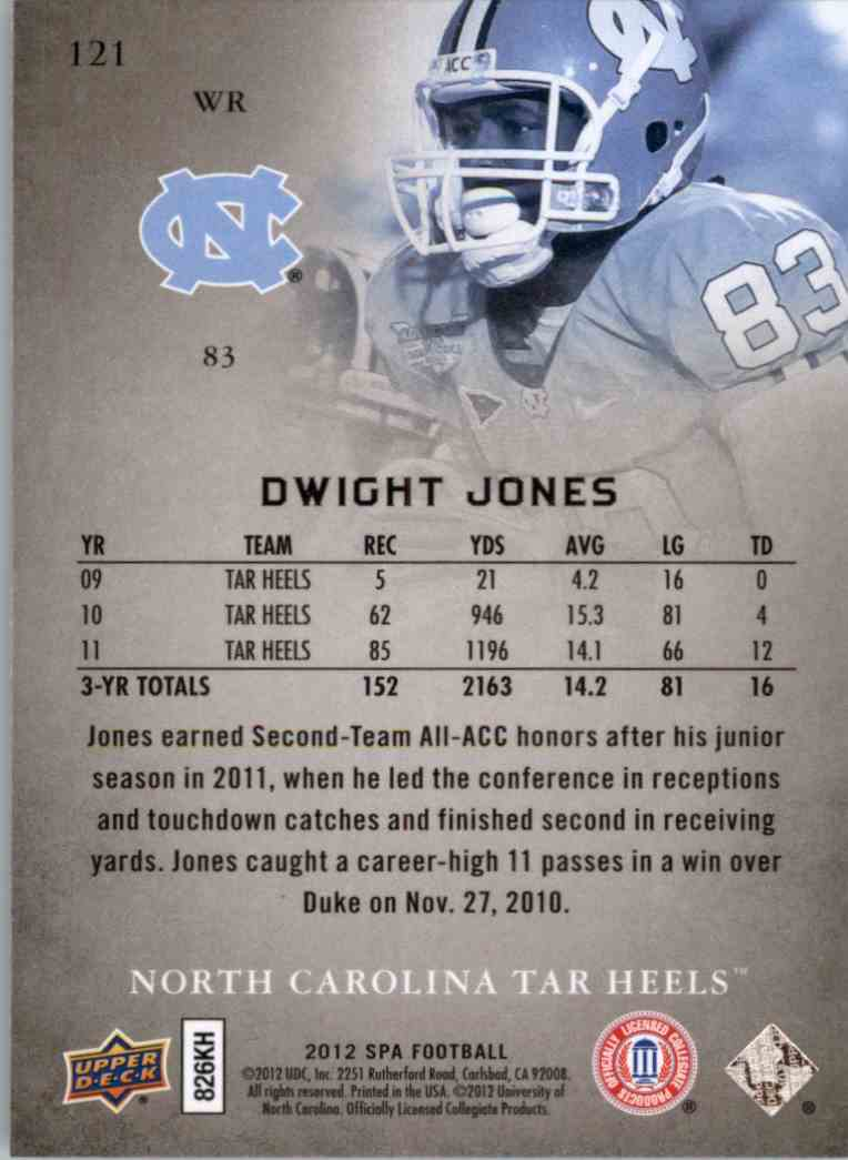 2012 SP Authentic Dwight Jones #121 card back image