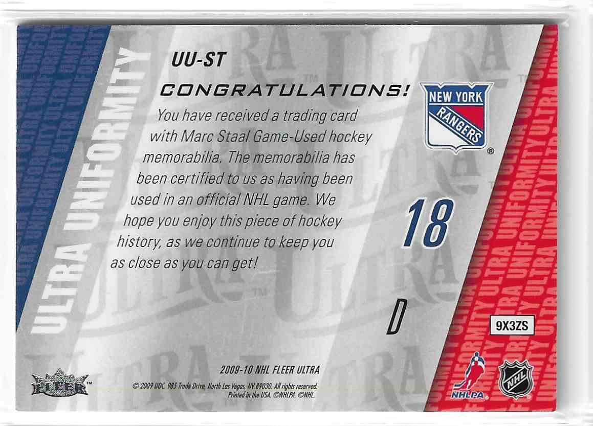 2009-10 Fleer Ultra Ultra Uniformity Marc Staal #UU-ST card back image