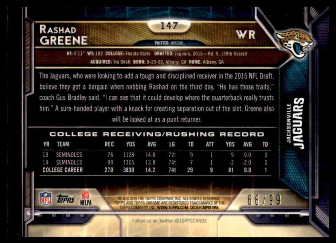 2015 Topps Chrome Sepia Refractor Rashad Greene #147 card back image