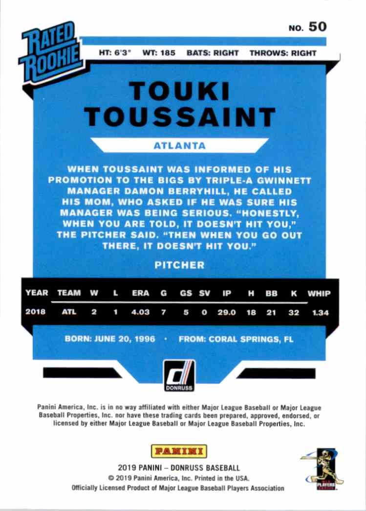 2019 Donruss Touki Toussaint Rr RC #50 card back image