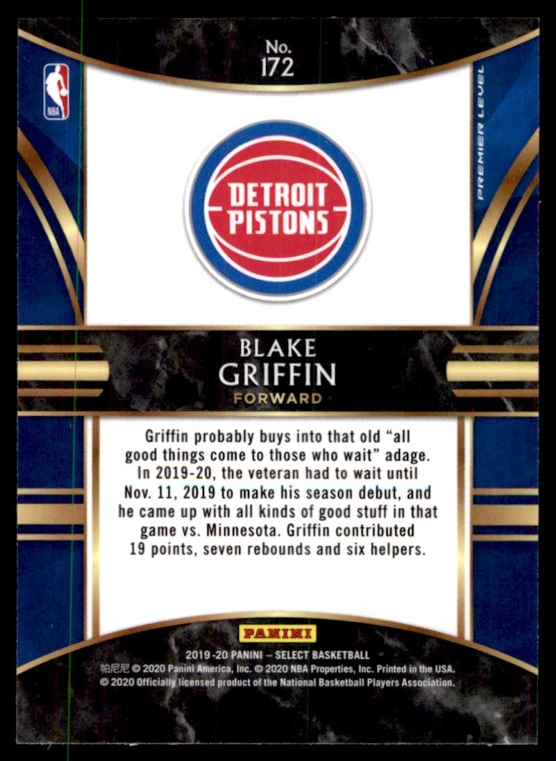 2019-20 Panini Select Blake Griffin #172 card back image