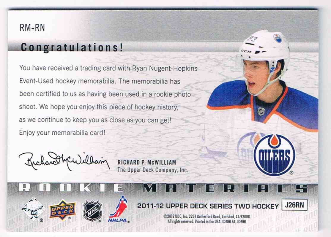 2011-12 Upper Deck Rookie Materials Ryan Nugent-Hopkins #RM-RN card back image