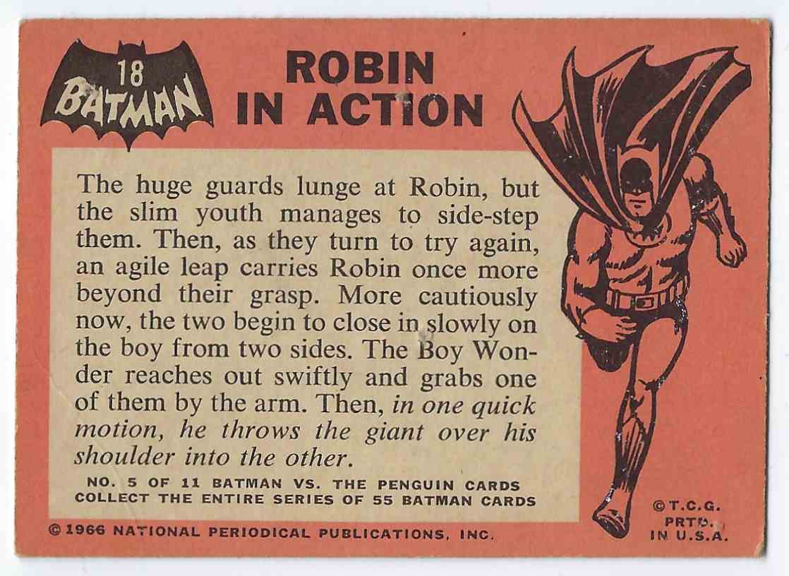 1966 Topps Batman Robin In Action #18 card back image