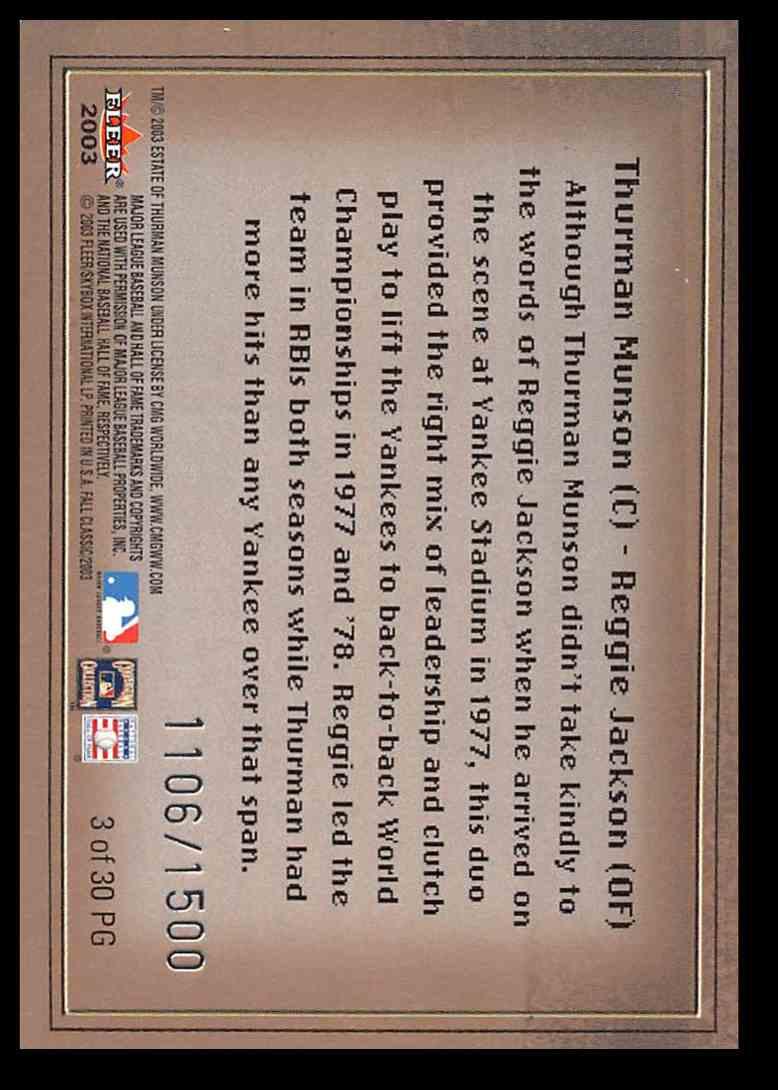 2003 Fleer Fall Classic Postseason Glory Reggie Jackson/Thurman Munson #3 card back image
