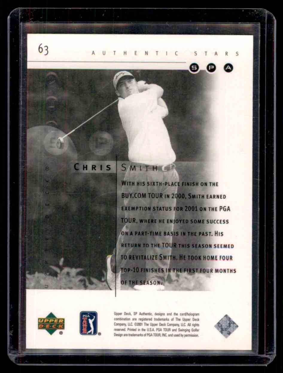 2001 SP Authentic Chris Smith #63 card back image
