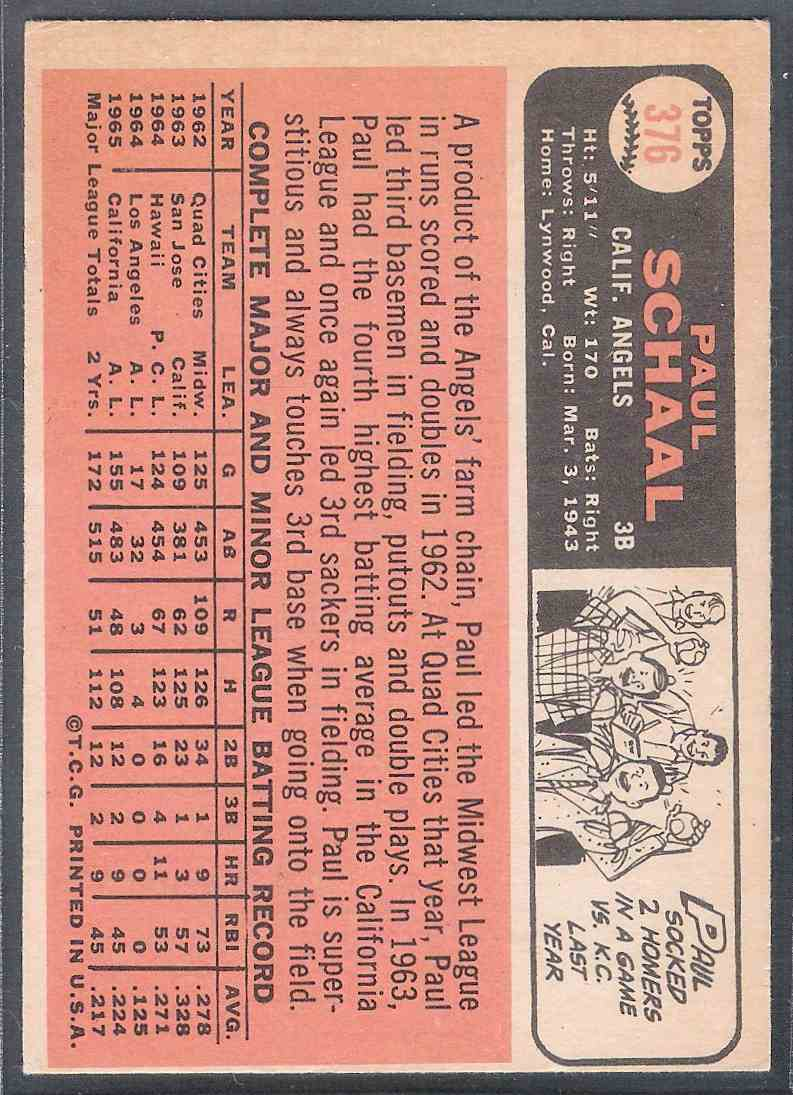 1966 Topps Paul Schaal #376 card back image