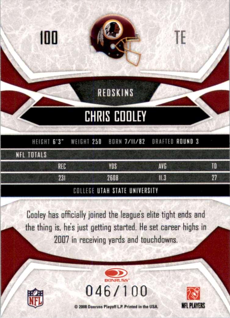 2008 Donruss Gridiron Gear Gold Holofoil X's Chris Cooley #100 card back image