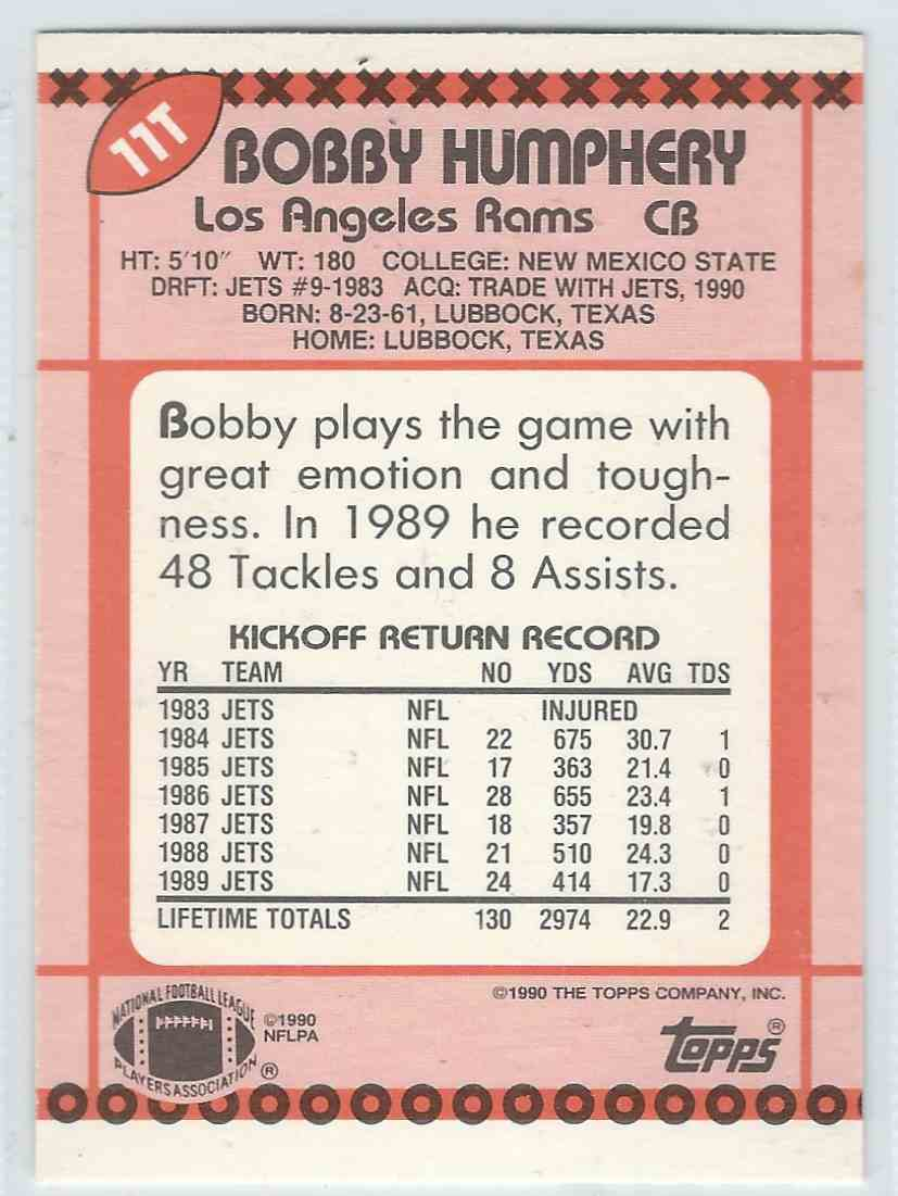 1990 Topps Traded Bobby Humphery #11T card back image