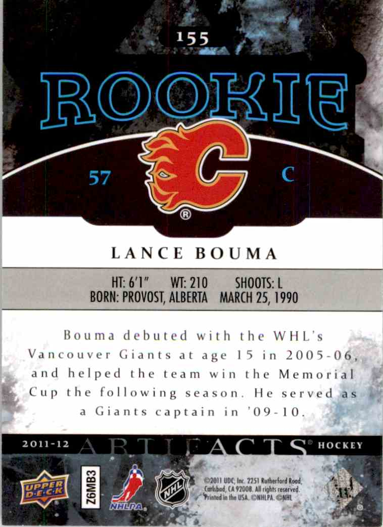 2011-12 Upper Deck Artifacts Lance Bouma #155 card back image