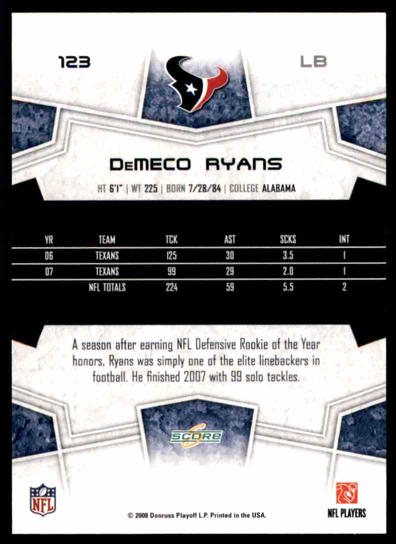 2008 Score DeMeco Ryans #123 card back image