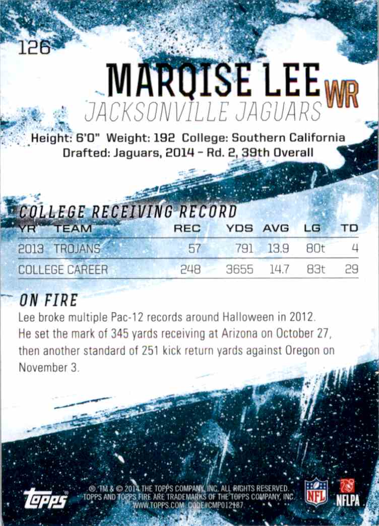 2014 Topps Fire Purple Marqise Lee #126 card back image