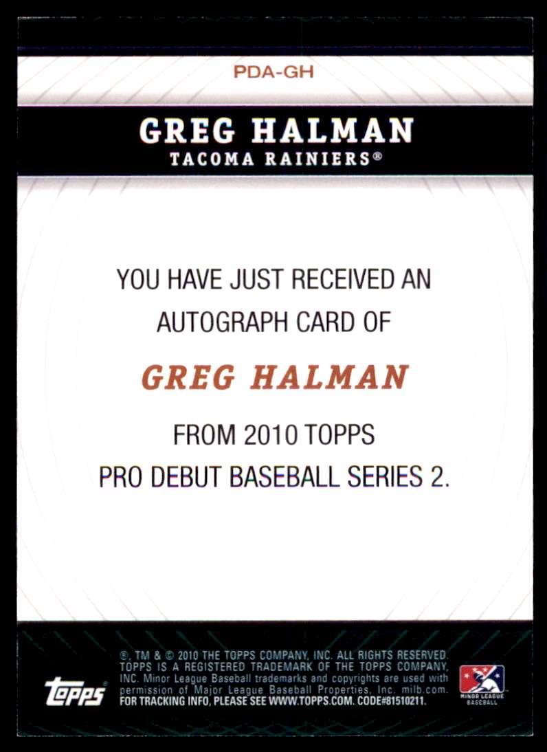 2010 Topps Pro Debut Prospect Autographs Greg Halman #PDA-GH card back image