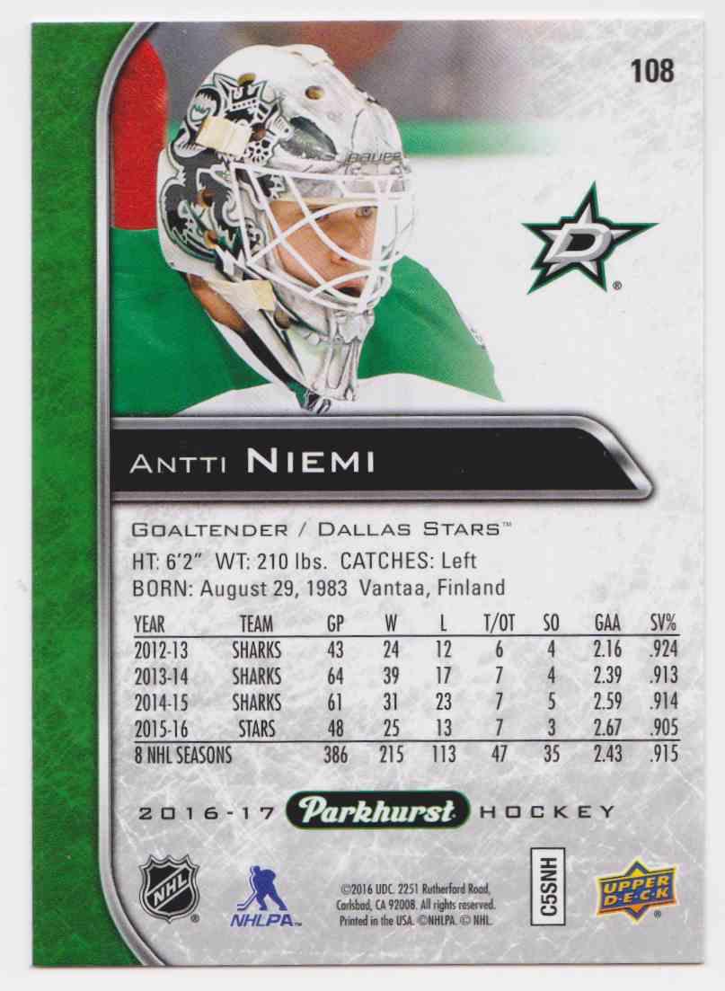 2016-17 Parkhurst Antti Niemi #108 card back image