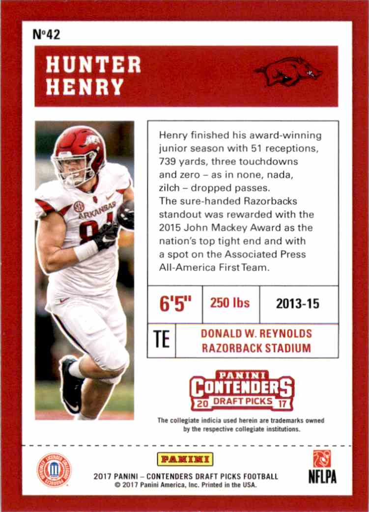 2017 Panini Contenders Draft Picks Hunter Henry #42 card back image