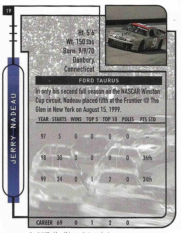 2000 Upper Deck MVP Jerry Nadeau #19 card back image
