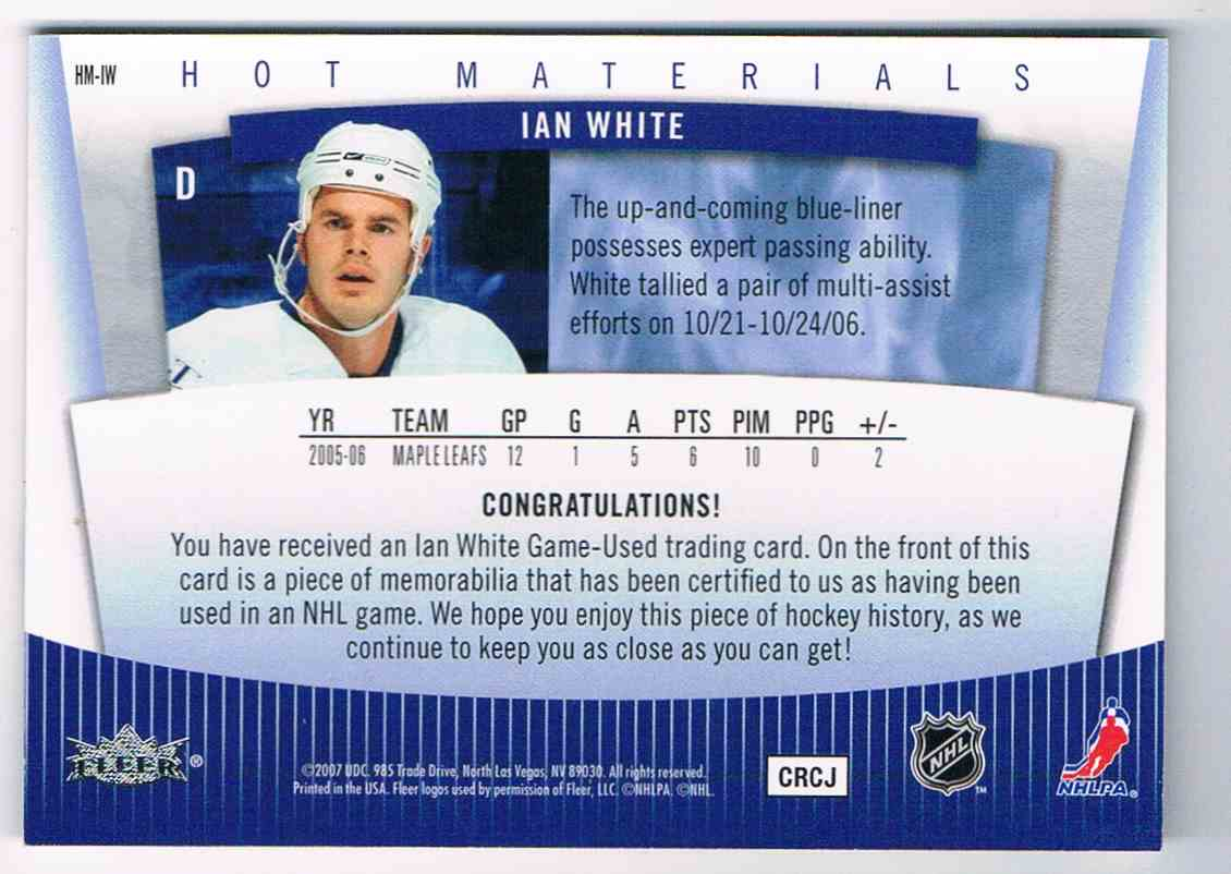 2006-07 Hot Prospects Hot Materials Ian White #HM-IW card back image