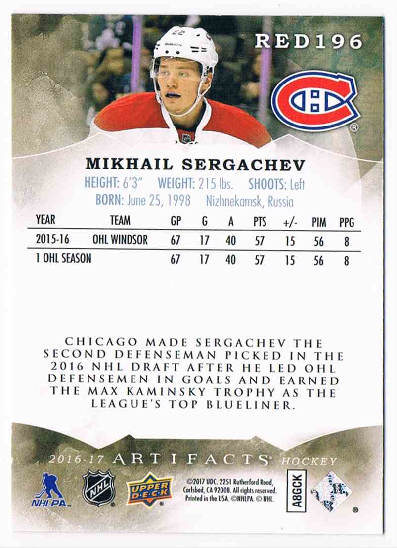 2016-17 Artifacts Mikhail Sergachev #196 card back image