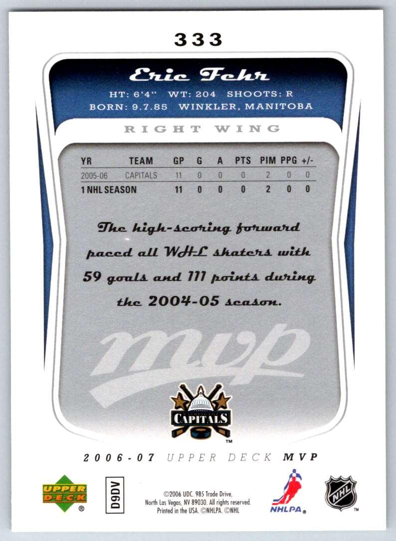 2006-07 Upper Deck MVP Eric Fehr #333 card back image