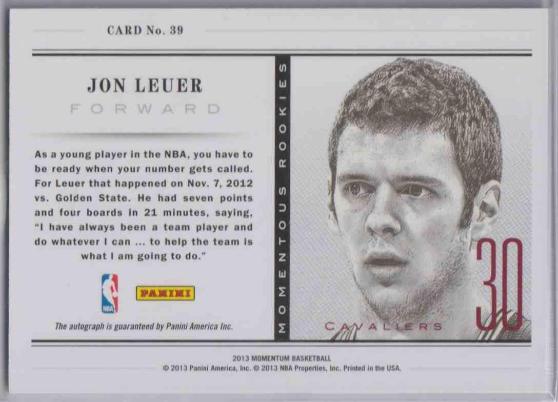 2013-14 Panini Momentum Momentous Rookies Jon Leuer #39 card back image