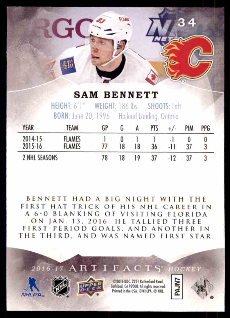 2016-17 Artifacts Ruby Sam Bennett #34 card back image