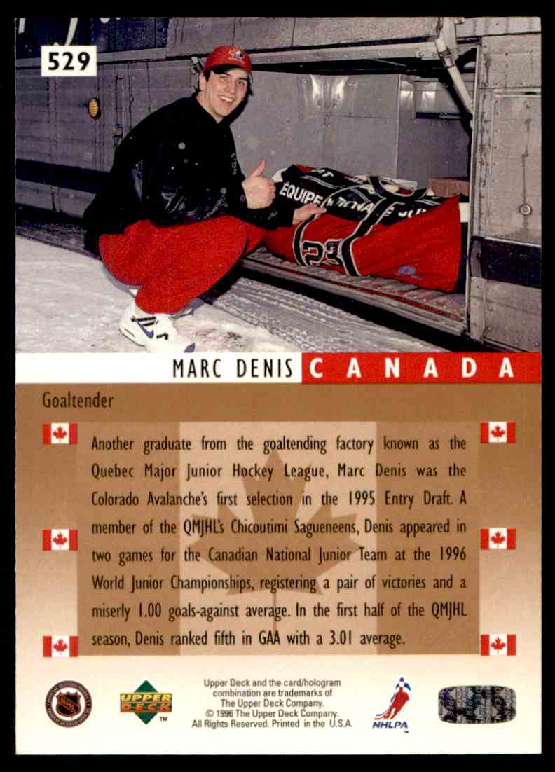 1995-96 Upper Deck ! Marc Denis #529 card back image