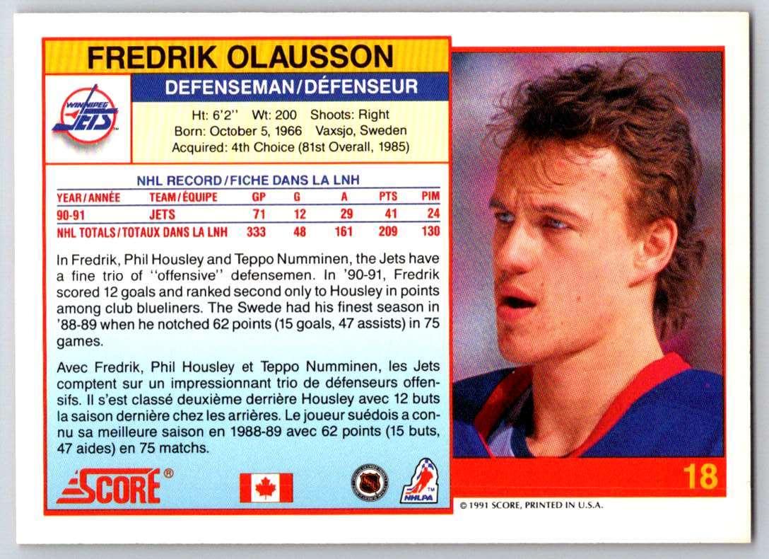1991-92 Score Canadian Bilingual Fredrik Olausson #18 card back image