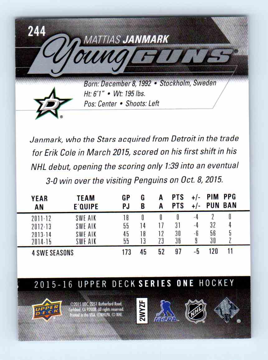 2015-16 Upper Deck Young Guns Mattias Janmark #244 card back image