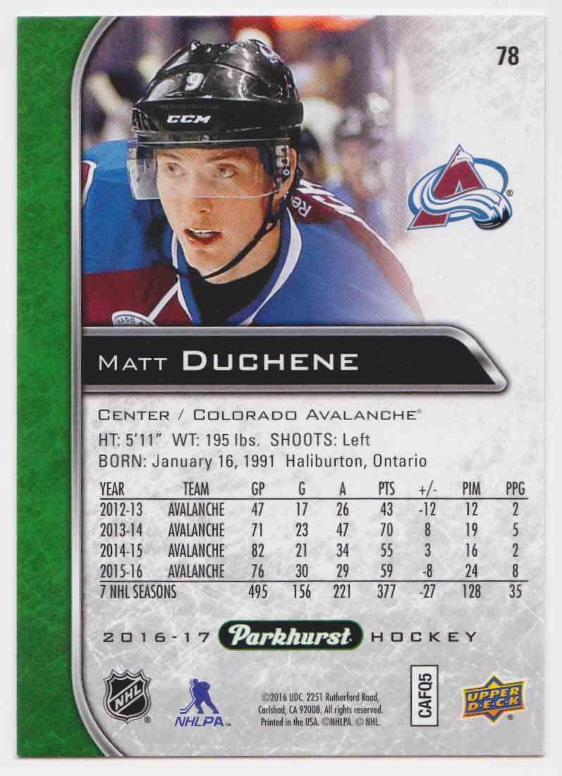 2016-17 Parkhurst Matt Duchene #78 card back image