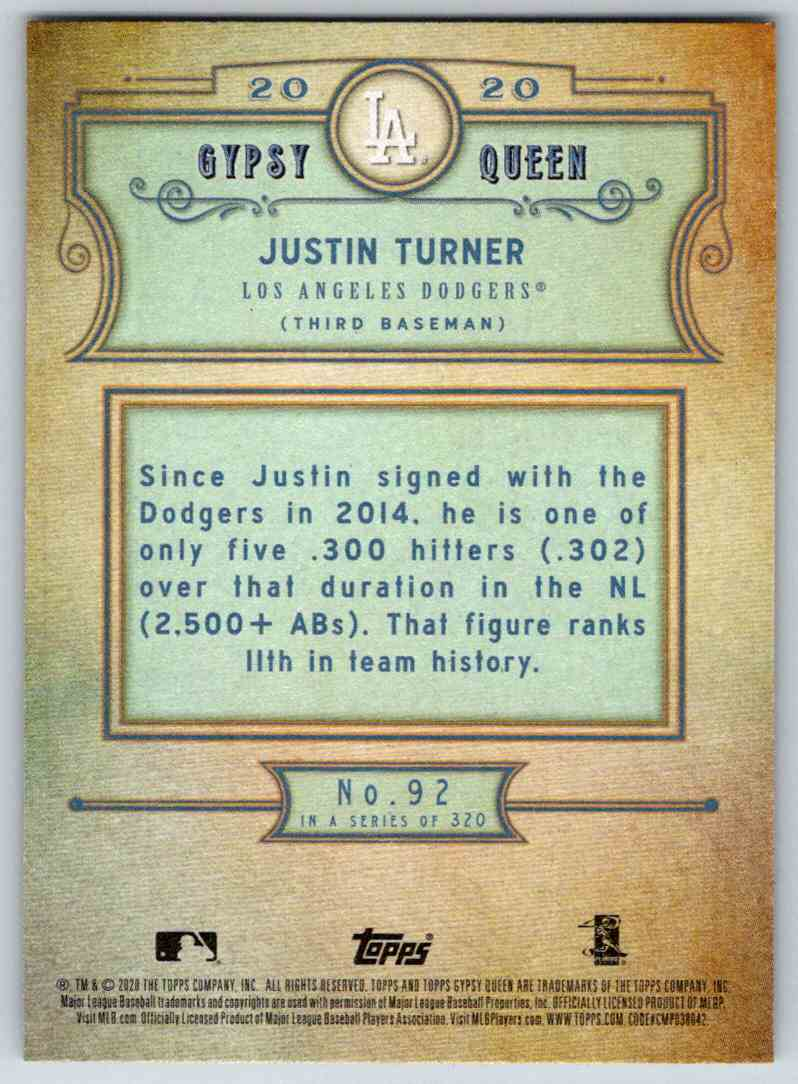 2020 Topps Gypsy Queen Base Justin Turner #92 card back image
