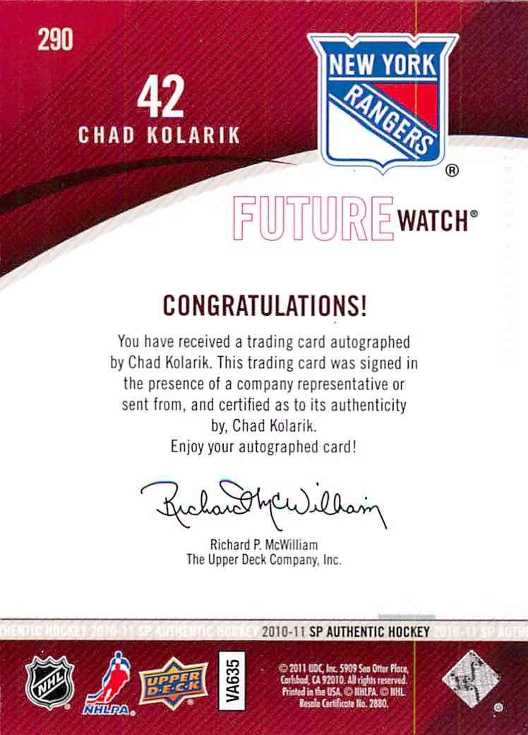 2010-11 Upper Deck SP Authentic Chad Kolarik #290 card back image
